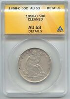 1858 O SEATED LIBERTY HALF DOLLAR ANACS AU 53 DETAILS