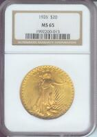 1926 $20 ST. GAUDENS DOUBLE EAGLE  NGC MS65 SAINT MS 65 GEM