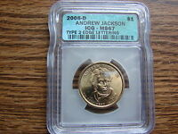 ANDREW JACKSON 2008-D ICG MINT STATE 67 TYPE 2 EDGE LETTERS MAKE AN OFFER