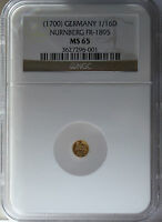 ND 1700 GERMAN STATES NURNBERG 1/16 DUCAT MS65 NGC.  EXCEPTIONAL APPEARANCE.