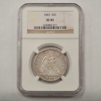 1843 LIBERTY SEATED HALF DOLLAR  NGC XF45 Q78