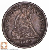 1891 SEATED LIBERTY SILVER QUARTER 1337