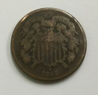 1865 TWO CENT PIECE , VG