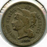 1869 3 CENT NICKEL COIN   THREE CENTS AA346