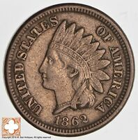 1862 INDIAN HEAD CENT   COPPER NICKEL   CIVIL WAR ERA 2581