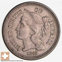 1868 THREE CENT PIECE   COPPER NICKEL 2653