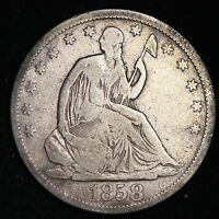 1858 S SEATED LIBERTY HALF DOLLAR CHOICE FINE  E196 AHM