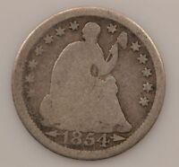 1854 LIBERTY SEATED HALF DIME ARROWS AT DATE G52