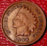 ANTIQUE 1800'S COIN1898 INDIAN HEAD ONE CENT PENNY A779