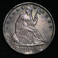 1858 S SEATED LIBERTY HALF DOLLAR AU DETAIL  E208 TLM