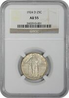 1924-D STANDING LIBERTY QUARTER AU55 NGC ALMOST UNCIRCULATED 55