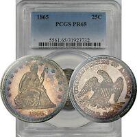 1865 LIBERTY SEATED QUARTER 25C PROOF PR 65 PCGS   VIBRANT COLOR CIVIL WAR DATE