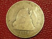 COLLECTIBLE VINTAGE U S. COIN1877 SEATED LIBERTY QUARTER CE40