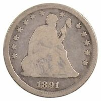 1891 SEATED LIBERTY QUARTER DOLLAR J65