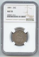 1891 SEATED LIBERTY QUARTER NGC AU 55 ORIGINAL TONE NICE FOR TYPE