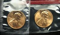 1984 P & D UNCIRCULATED LINCOLN MEMORIAL CENT PENNY MINT CELLO B03