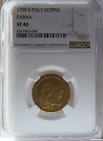 1790 S ITALY PARMA GOLD DOPPIA NGC XF40  ONLY ONE GRADED BY NGC