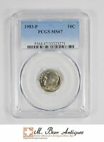 MS67 1983 P ROOSEVELT DIME   GRADED PCGS 3455