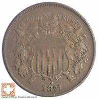 1871 TWO CENT PIECE XB09