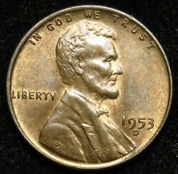 1953 D LINCOLN WHEAT CENT PENNY AU ABOUT UNCIRCULATED B04