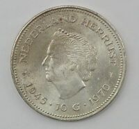 1970 NETHERLANDS 10 GULDEN SILVER FOREIGN COIN Q15