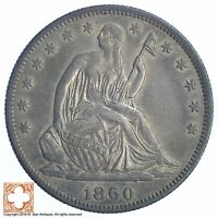 1860 SEATED LIBERTY SILVER HALF DOLLAR XB73