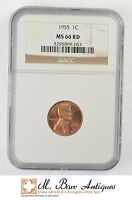 MS66 RD 1955 LINCOLN WHEAT CENT   GRADED NGC XC61