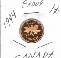 1994 CANADIAN UNCIRCULATED NICE CAMEO PROOF ONE CENT ELIZABETH II COIN