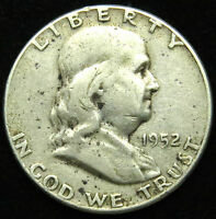 1952 FRANKLIN 90 SILVER HALF DOLLAR GOOD VG B01