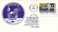 1969 APOLLO 11 C76 FDC; APOLLO 11 EMBLEM & JFK QUOTE CACHET
