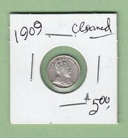 1909 CANADIAN 5 CENTS SILVER COIN   CLEANED