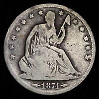 1874 S SEATED LIBERTY HALF DOLLAR CHOICE VG  E285 FM