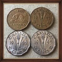 1942 1943 TOMBACS 1944 1945 CANADA FIVE CENTS CANADIAN NICKEL COINS 400
