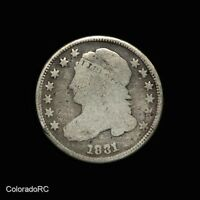 1831 10C CAPPED BUST SILVER DIMES   GOOD