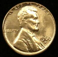 1960 D LD LARGE DATE UNCIRCULATED BU LINCOLN MEMORIAL CENT PENNY B05