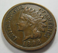 1898 EARLY INDIAN HEAD CENT PENNY COIN GRADES AU 126E