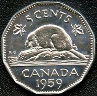 1959 CANADA 5 CENT COIN