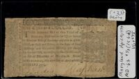 APRIL 10 1774 MARYLAND 1/3 OF A DOLLAR COLONIAL NOTE IN DENLYS OF BOSTON SLEEVE