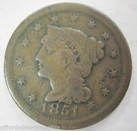 1851 EARLY COPPER LARGE CENT COIN1117A