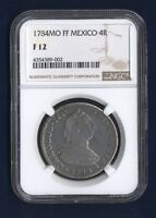 MEXICO SPANISH COLONIAL CHARLES III 1784 MOFF 4 REALES COIN CERTIFIED NGC F12