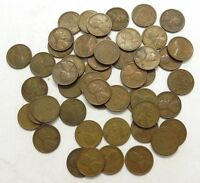 1925-D SOLID DATE ROLL OF 50 CIRCULATED LINCOLN CENTS PENNIES, PENNY COLLECTION