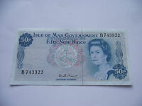 ISLE OF MAN. 50 NEW PENCE  BEINAHE UNC BANKNOTE ND 1972