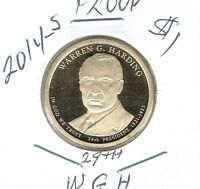 2014 S $1 WARREN G. HARDING PROOF 29TH PRESIDENTIAL DOLLAR COIN