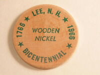 1966  BICENTENNIAL 1766 1966 OF LEE NEW HAMPSHIRE WOODEN NICKEL