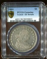1801 DOLLAR DRAPED BUST $1 PCGS GENUINE TOOLED - EXTRA FINE  DETAILS