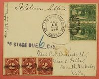 1899 PHILIPPINES COVER SPANISH AMERICAN WAR MILITARY STATION 1 TO USA DUE