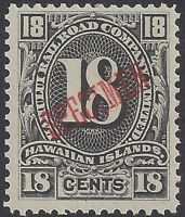HAWAII KAHULUI RAILROAD 18-CENT BLACK NEVER HINGED SPECIMEN SIGNED CHANG