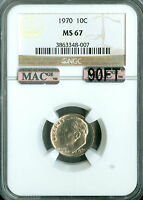 1970 ROOSEVELT DIME NGC MAC MS67 90FT PQ SOLO FINEST GRADED SPOTLESS