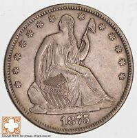 1875 S SEATED LIBERTY SILVER HALF DOLLAR 6536