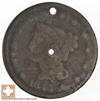 1843 BRAIDED HAIR LARGE CENT CONDITION: HOLES 3671